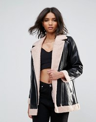 Goldie Phoenix Pu Aviator Style Jacket With Faux Fur Lining And Zipper Detail Black
