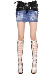 Dsquared Lace Up Stretch Denim And Leather Skirt
