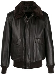 Schott Faux Fur Collar Jacket Brown