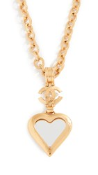 Wgaca What Goes Around Comes Around Chanel Heart Mirror Necklace Gold