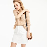 J.Crew Petite White Denim Skirt With Let Out Hem