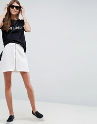 Asos A Line Mini Skirt With Circle Zip Pull White