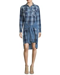 Current Elliott The Twist High Low Shirt Tie Plaid Denim Dress Blue