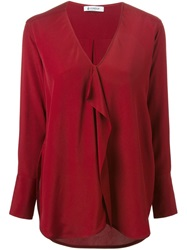 Dondup Draped Front V Neck Blouse Red