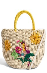 Topshop Betsy Toucan Straw Bag Beige Nude Multi