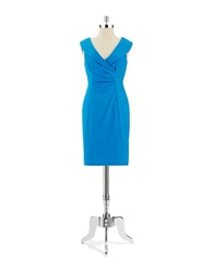 Kay Unger Shawl Collared Shift Dress Peacock Blue