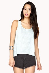 Forever 21 Studded High Low Tank Mint Silver