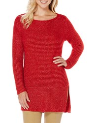 Rafaella Long Sleeve Lurex Pullover Ruby
