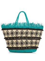 Sensi Studio Toquilla Straw Frayed Tote Green Multi