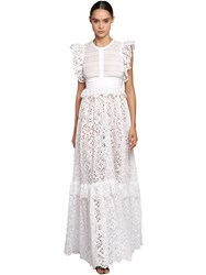 Elie Saab Lace And Poplin Long Dress W Ruffles White