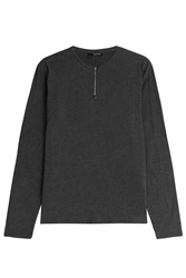 The Kooples Long Sleeved Cotton Top With Zipper Grey