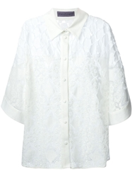 Emanuel Ungaro Pleat Applique Panel Crochet Shirt White