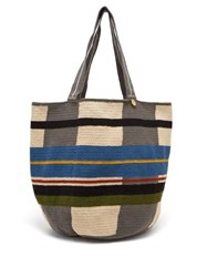 Guanabana Grid Striped Woven Tote Bag Grey Multi