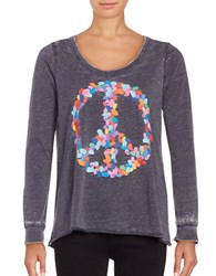 Chaser Long Sleeve Jersey Knit Peace T Shirt Cove