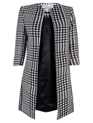 Closet Houndstooth Collarless Jacket Black White