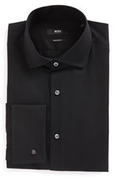Boss Men's Big And Tall Regular Fit Solid French Cuff Tuxedo Shirt Black