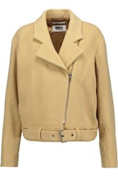 Maison Martin Margiela Mm6 Belted Wool Blend Jacket Beige