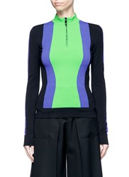 Emilio Pucci Contrast Stripe Zip Front Sweater Multi Colour