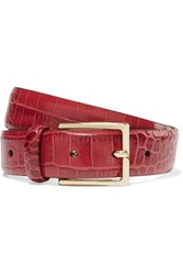 Andersons Anderson's Croc Effect Leather Belt Red