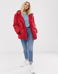 Just Female Puffy Padded Hooded Jacket Red