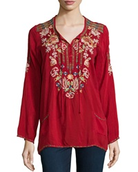 Johnny Was Carnation Long Sleeve Embroidered Blouse