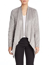 Saks Fifth Avenue Black Sueded Drape Front Jacket Grey