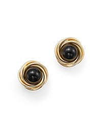 Bloomingdale's Onyx Love Knot Stud Earrings In 14K Yellow Gold