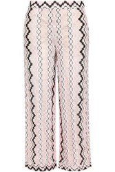 Missoni Woman Cropped Crochet Knit Wide Leg Pants Pastel Pink