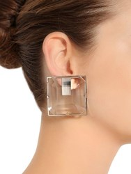 Krizia Square Plexi Clip On Earrings Transparent