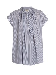 Nili Lotan Normandy Striped Cotton Shirt Navy White