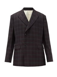 Raf Simons Checked Double Breasted Wool Blazer Brown