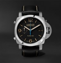 Officine Panerai Luminor 1950 3 Days 44Mm Automatic Flyback Chronograph Stainless Steel And Leather Watch Black