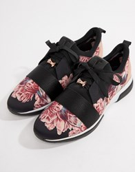 Ted Baker Black Floral Sporty Trainers Multi
