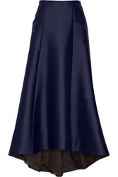 Adam By Adam Lippes Asymmetric Duchesse Satin Maxi Skirt Blue