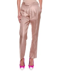 Tom Ford Metallic Twill Crop Pants Nude