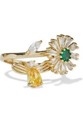 Cz By Kenneth Jay Lane Woman Gold Plated Crystal Ring Gold