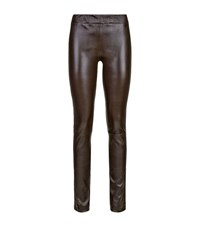 The Row Leather Moto Leggings Female Purple