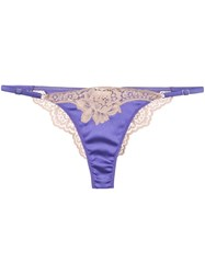 Fleur Du Mal James Lace Cheeky Thong Purple