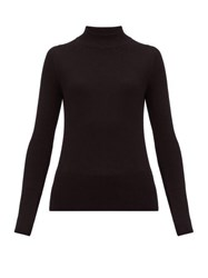 The Row Sulli Mock Neck Silk And Cotton Blend Sweater Black