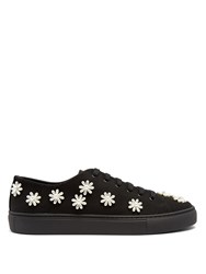 Simone Rocha Floral Embellished Canvas Low Top Trainers Black
