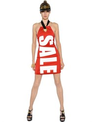 Moschino Sale Stretch Envers Satin Halter Dress