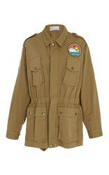 Red Valentino Military Jacket With Surf Embroidered Patches Khaki