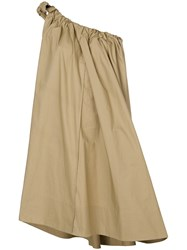Ter Et Bantine Ruched One Shoulder Dress Cotton Nude Neutrals