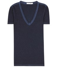 Rag And Bone V Neck Cotton T Shirt Blue