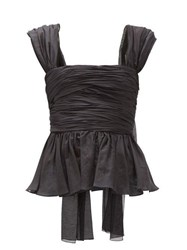 Brock Collection Ruched Cotton Blend Top Black