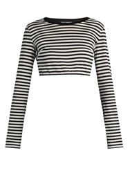 Dolce And Gabbana Striped Cotton Jersey Cropped Top Black Stripe