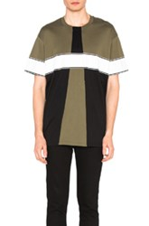 Givenchy Colorblock Tee In Green Black Green Black