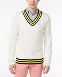 Tommy Hilfiger Men's Coast Cricket Cotton Sweater Snow White
