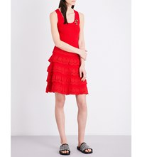 The Kooples Bee Embellished Ribbed Knit Dress Red01