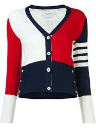 Thom Browne Block Colour V Neck Cardigan